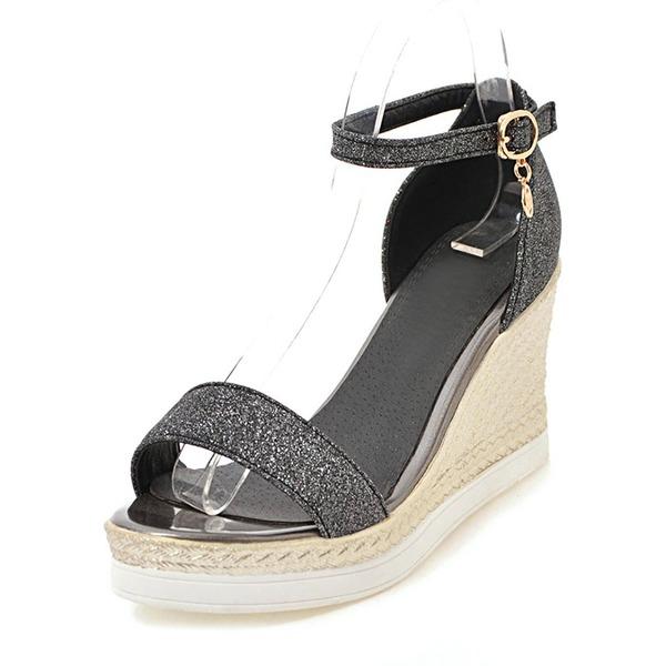 Women's Sparkling Glitter Wedge Heel Pumps Platform Wedges Peep Toe With Buckle shoes
