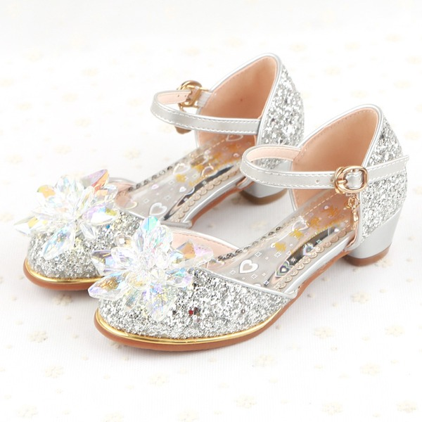 Girl's Sparkling Glitter Flat Heel Closed Toe Flats With Buckle Rhinestone Sparkling Glitter