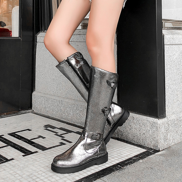 Women's Leatherette Low Heel Knee High Boots Snow Boots With Buckle Zipper shoes