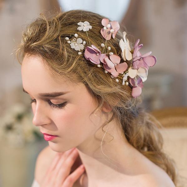 Elegante Di faux perla/Fiore di seta Fiori & piume/Fasce