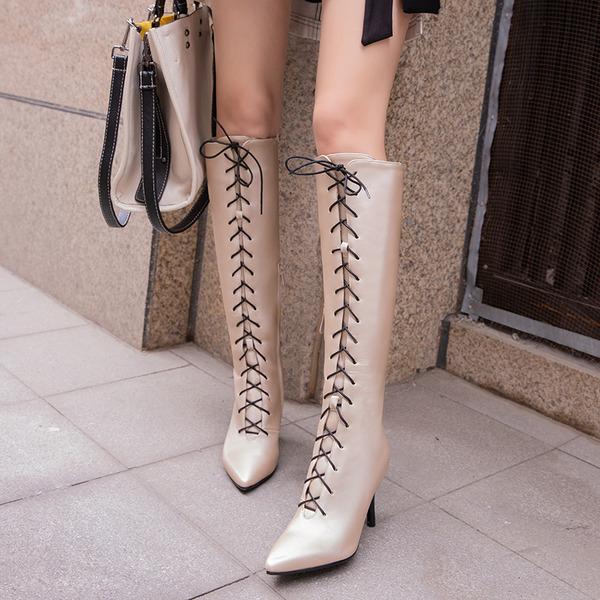 Женщины кожа Высокий тонкий каблук На каблуках Ботинки Сапоги до колен с Шнуровка обувь