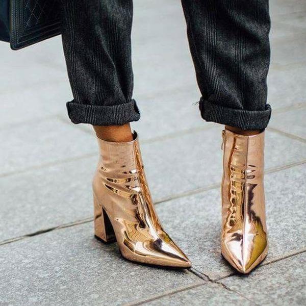 Donna Pelle verniciata Tacco spesso Stiletto Punta chiusa Stivali alla caviglia con Cerniera scarpe