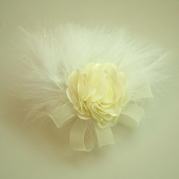 Damer Vackra Och Netto garn/Fjäder/Siden blomma Panna smycken/Hatt