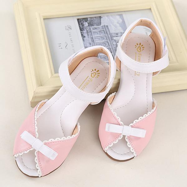 Girl's Peep Toe Microfiber leer Flat Heel Sandalen met strik Velcro