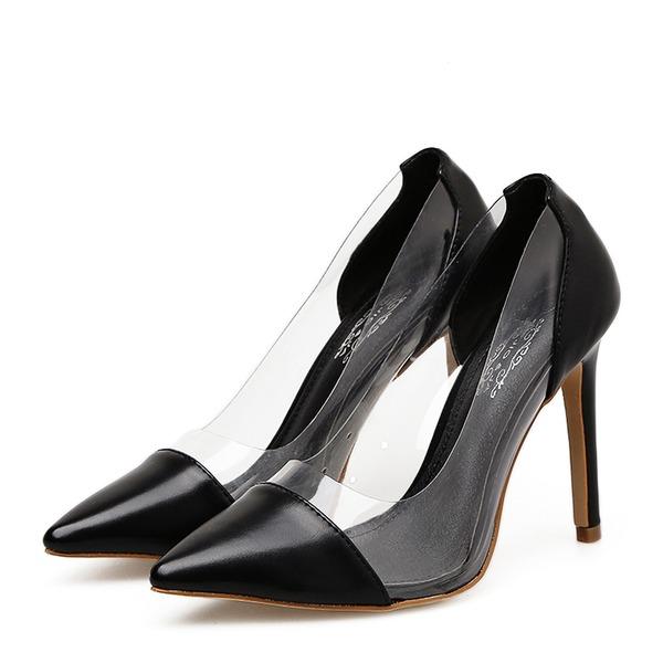 Women's PVC PU Stiletto Heel Pumps Closed Toe With Split Joint shoes