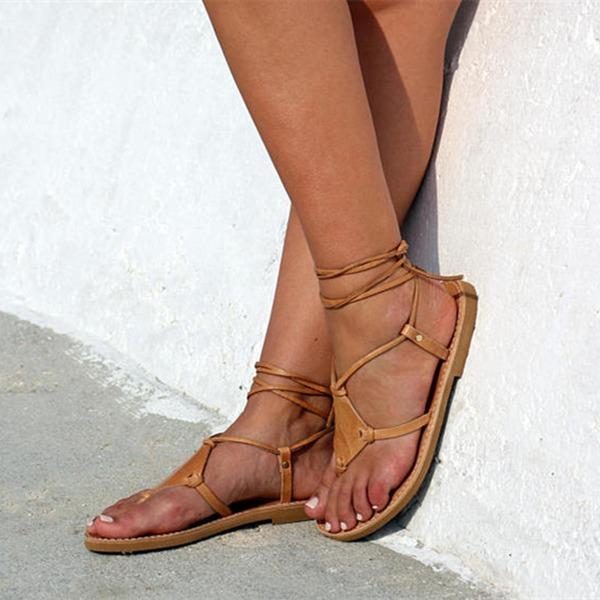 Kadın Suni deri Düz Topuk Sandalet Daireler Peep Toe Ile Bağcıklı ayakkabı