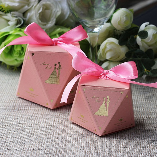 Creative/Elegant/Diamond Design diamond shape Card Paper Favor Boxes With Ribbons (Set of 12)
