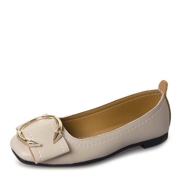 Women's Leatherette Flats Closed Toe With Button shoes