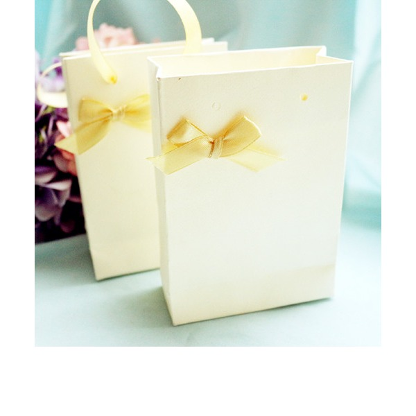 Ivory Handbag Favor Box with Ribbon (Set of 12)