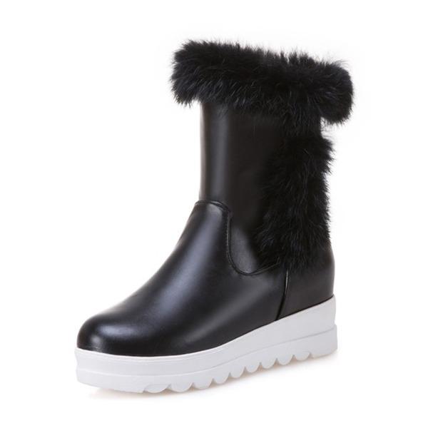 Kvinder Kunstlæder Kile Hæl Lukket Tå Støvler Mid Læggen Støvler Snestøvler med Pels sko