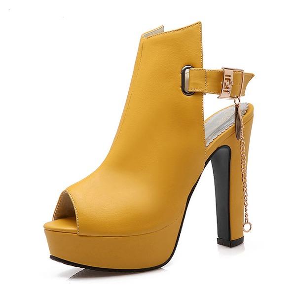 Femmes PU Talon bottier Sandales Escarpins Plateforme À bout ouvert Escarpins avec Chaîne chaussures