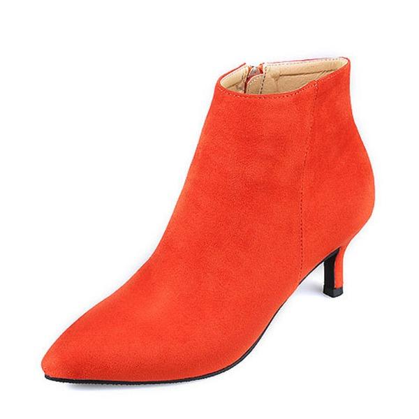 Kadın Süet İnce Topuk Kapalı Toe Bot Ayak bileği Boots Ile Fermuar ayakkabı