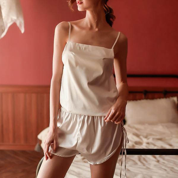 Saten Klasik Gelin/Kadınsı Pijama mağazası/Sleepwear Setleri