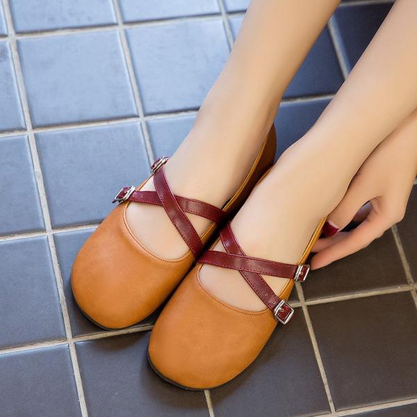 Femmes PU Talon plat Chaussures plates Bout fermé avec Boucle chaussures