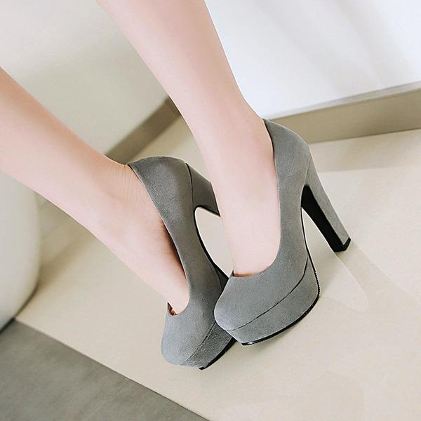 Vrouwen Suede Chunky Heel Pumps Plateau schoenen