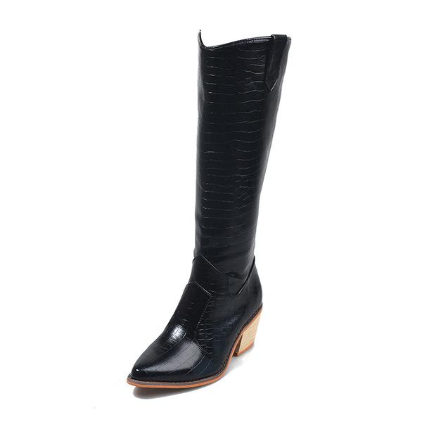 Kadın PU Kalın Topuk Bot Ile Yivli Conta ayakkabı