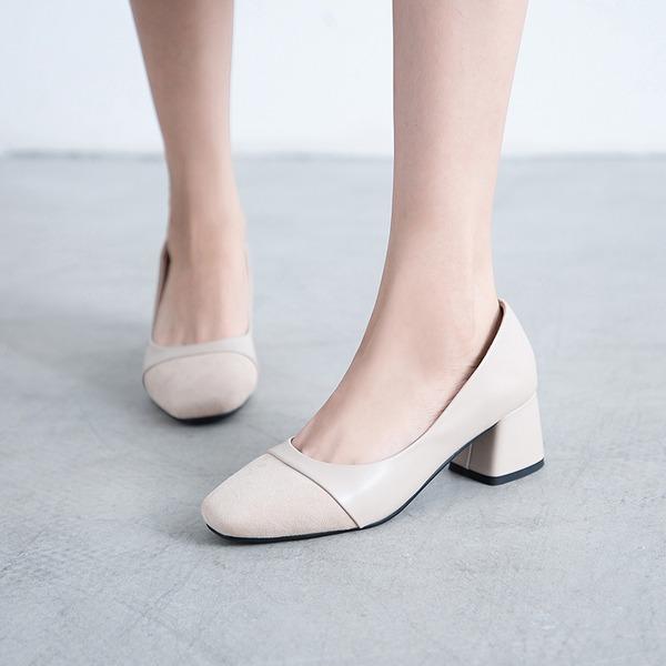 Naisten Mokkanahka Chunky heel Avokkaat jossa Split yhteinen kengät