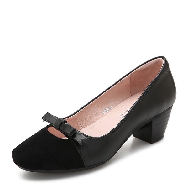 Frauen Veloursleder Stämmiger Absatz Absatzschuhe Geschlossene Zehe Mary Jane mit Bowknot Schuhe