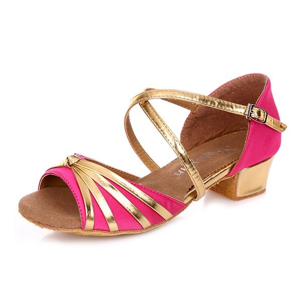 Детская обувь Атлас кожа На каблуках Сандалии Латино с Ремешок на щиколотке Обувь для танцев