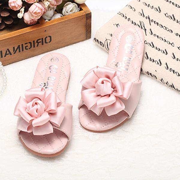 Mädchens Peep Toe Leder Flache Ferse Pantoffel Blumenmädchen Schuhe mit Satin Schleife