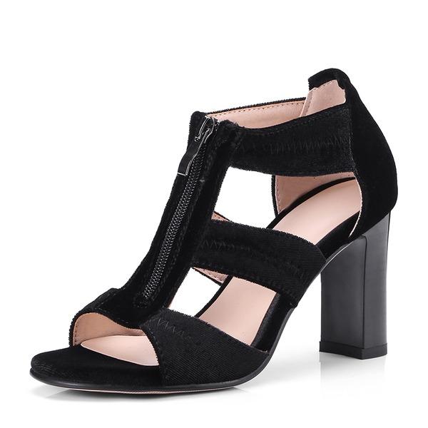 Donna Camoscio Tacco spesso Sandalo Stiletto Punta aperta con Cerniera scarpe