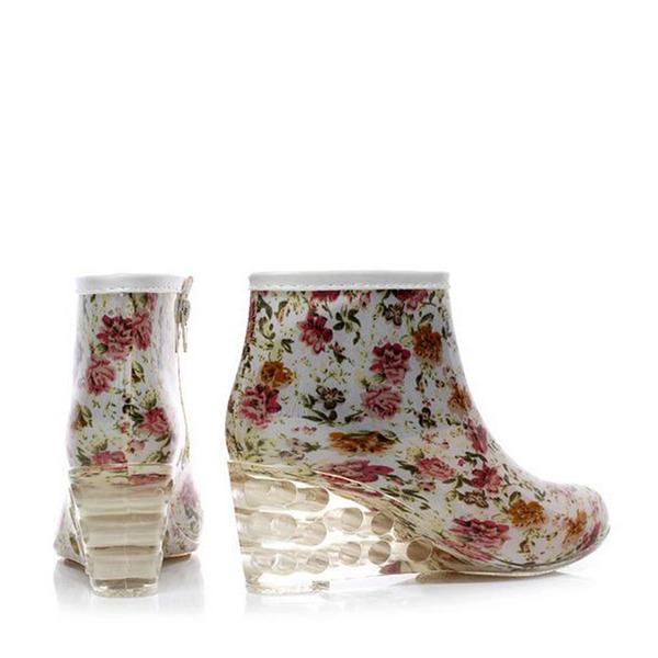 Frauen PVC Keil Absatz Stiefel Stiefel-Wadenlang Regenstiefel mit Andere Schuhe