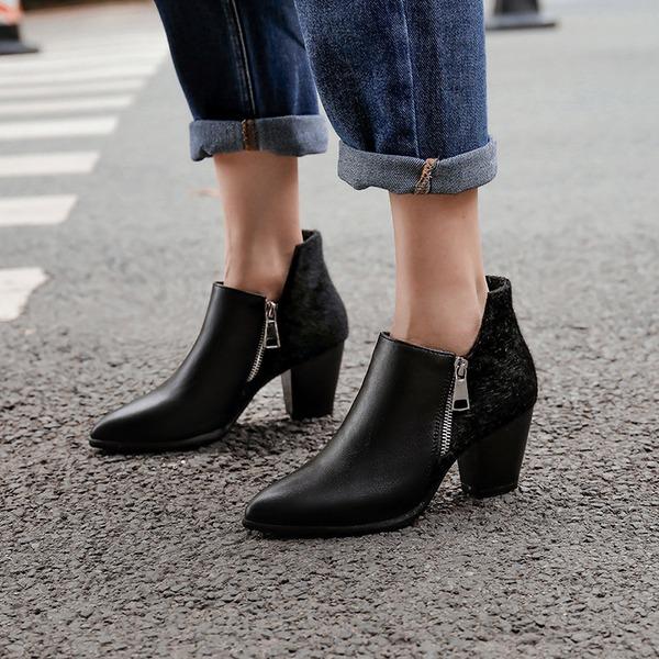 Mulheres PU Salto robusto Bombas Botas أحذية