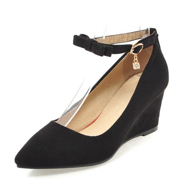 Frauen Veloursleder Keil Absatz Keile mit Schnalle Schuhe