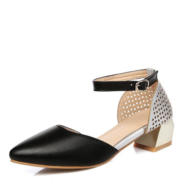 Donna Similpelle Tacco spesso Sandalo Ballerine con Fibbia scarpe