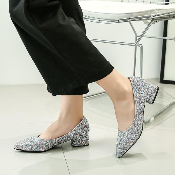 Kadın Köpüklü Glitter Düz Topuk Daireler Kapalı Toe Ile Pul ayakkabı