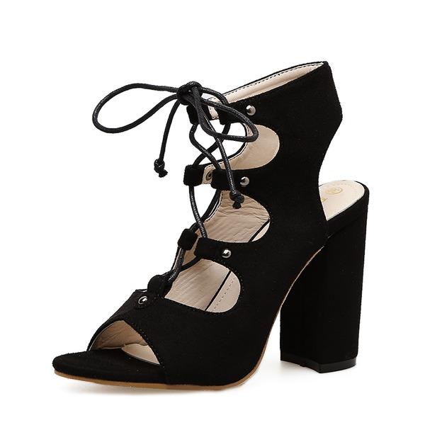 Kvinder Ruskind Stor Hæl sandaler Pumps Kigge Tå Slingbacks med Blondér sko