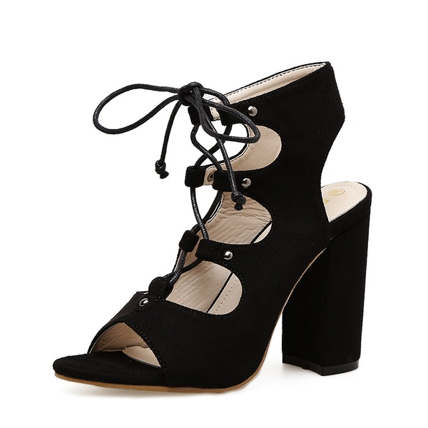 De mujer Ante Tacón ancho Sandalias Salón Encaje Solo correa con Cordones zapatos