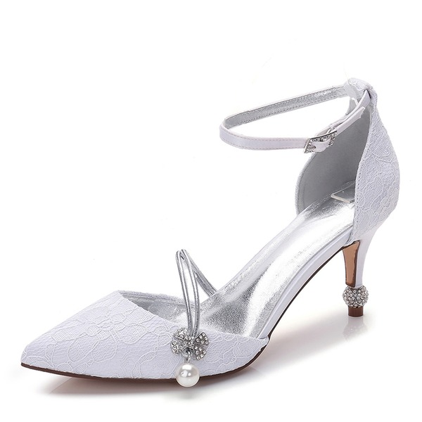 Women's Lace Silk Like Satin Stiletto Heel Closed Toe Pumps With Bowknot Imitation Pearl Rhinestone Pearl