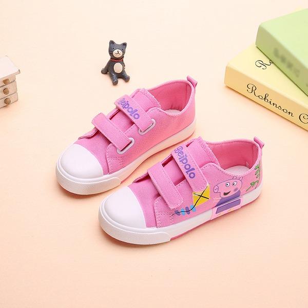 Girl's Ronde neus Canvas Flat Heel Flats Sneakers & Sportschoenen met Velcro