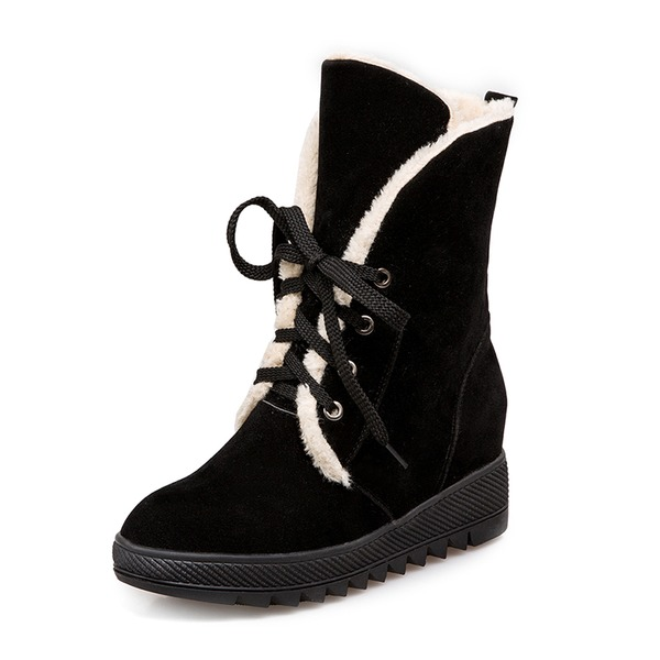 Women's Suede Wedge Heel Closed Toe Boots Snow Boots With Lace-up shoes