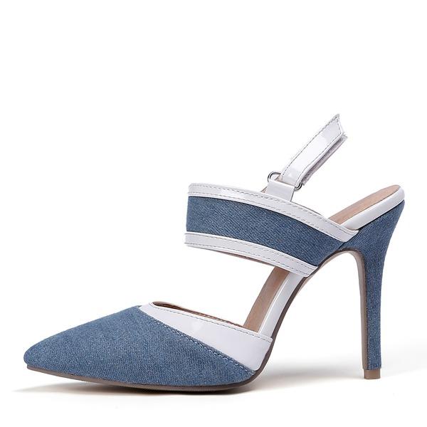 Женщины кожа Жан Высокий тонкий каблук Сандалии На каблуках Закрытый мыс Босоножки обувь