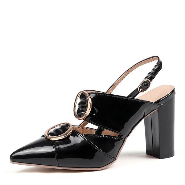 Mulheres Couro Brilhante Salto robusto Bombas Sapatos abertos sapatos