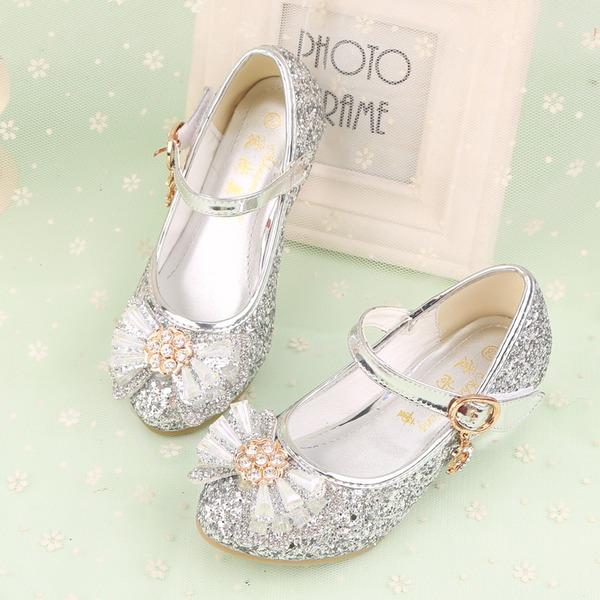 Jentas Lukket Tå Leather lav Heel Flower Girl Shoes med Bowknot Rhinestone Velcro