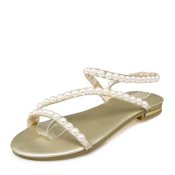 Donna PU Senza tacco Sandalo Ballerine Punta aperta Con cinturino con Perla imitazione scarpe