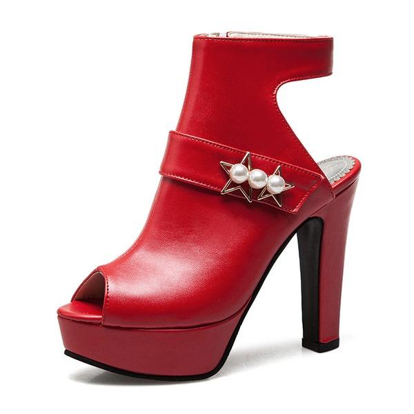Femmes PU Talon bottier Sandales Escarpins Plateforme À bout ouvert Escarpins avec Perle d'imitation chaussures