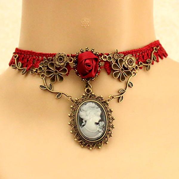Mode Legierung Lace Juwel mit Nachahmungen von Perlen Lace Juwel Damen Mode-Halskette