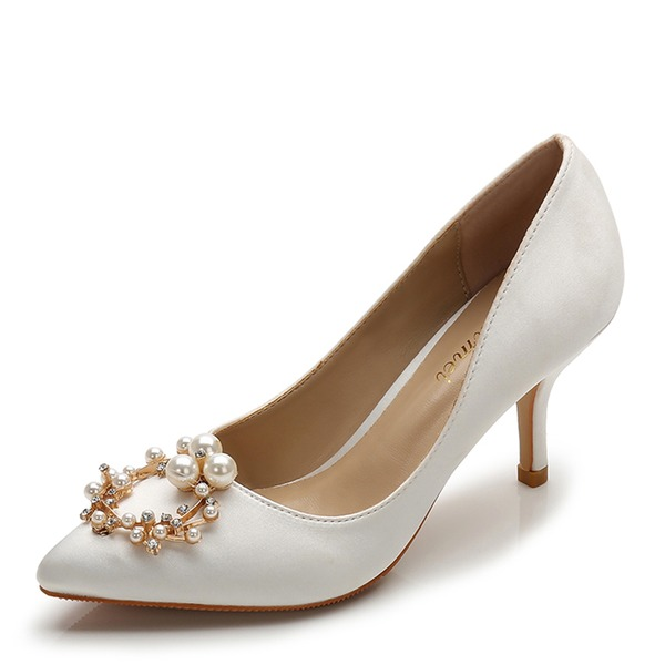 Women's Silk Like Satin Stiletto Heel Pumps Closed Toe With Rhinestone Imitation Pearl shoes