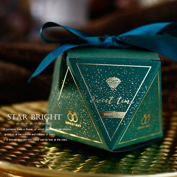 Sladká láska diamantový tvar Papírový papír Dárkové krabičky S stuhy (Sada 30)