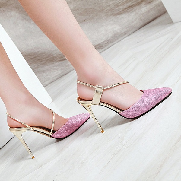 Women's Leatherette Stiletto Heel Pumps Closed Toe Slingbacks shoes