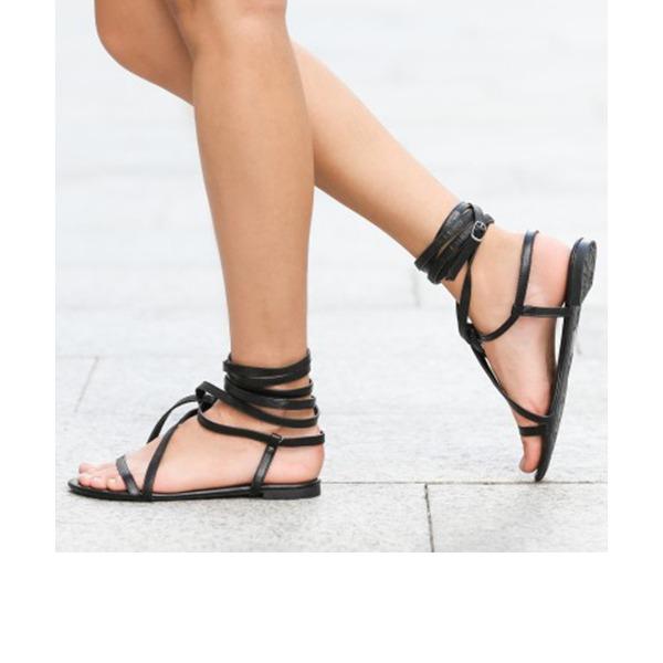 Femmes PU Talon plat Sandales Chaussures plates À bout ouvert Escarpins avec Dentelle chaussures