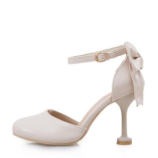 Vrouwen Kunstleer Stiletto Heel Closed Toe Pumps Sandalen met strik Gesp