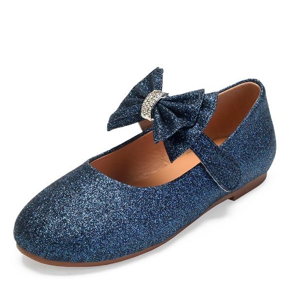 Mädchens Round Toe Geschlossene Zehe Mary Jane funkelnden Glitter Flache Ferse Blumenmädchen Schuhe mit Bowknot Strass Funkelnde Glitzer
