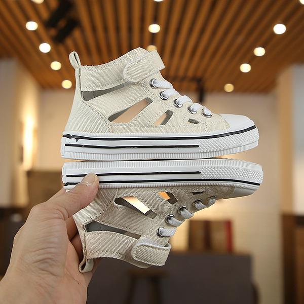 Unisexmodell Round Toe Lukket Tå Lerret flat Heel Flate sko Støvler Sneakers & Athletic med Blondér