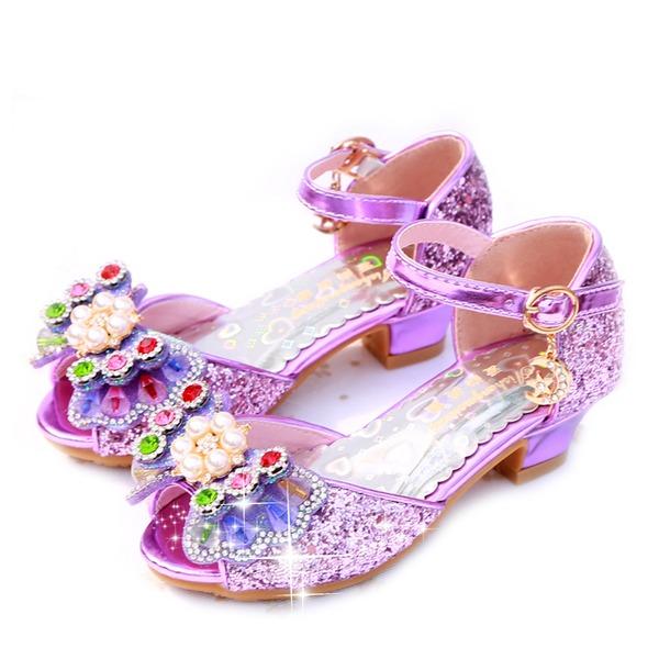 Fille de À bout ouvert similicuir Glitter mousseux Low Heel Sandales Chaussures de fille de fleur avec Bowknot