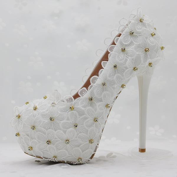 Vrouwen Kunstleer Stiletto Heel Closed Toe Pumps met Strass Stitching Lace